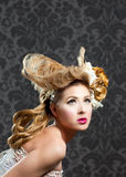 Hairdressing και makeup μόδας γυναίκα Στοκ εικόνες με δικαίωμα ελεύθερης χρήσης