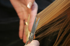 Hairdressing. Professional hairdresser cutting childs hair Stock Images