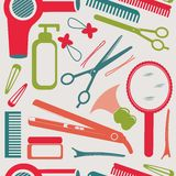 Hairdressing accessories pattern Stock Photos