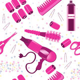 Hairdressing accessories pattern. Seamless pattern with different hair accessories: hair dryer, brush, hair curlers and scissors Royalty Free Stock Images