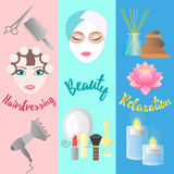 Hairdressing, Beauty, Relaxation. Banner Templates. Royalty Free Stock Image
