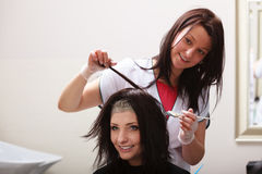 Hairdressing beauty salon. Woman dying hair. Hairstyle. Royalty Free Stock Image
