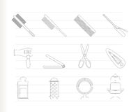 Hairdressing, coiffure and make-up icons Royalty Free Stock Photography