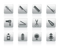 Hairdressing, coiffure and make-up icons Stock Image