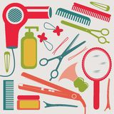 Hairdressing collection. A colorful hairdressing equipment collection stock illustration