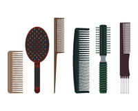Hairdressing comb vector illustration. Set of hairdressing combs: rake comb, brush, tail comb, cutting comb, radial brush and pin tail comb Royalty Free Stock Image