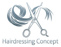 Hairdressing Concept. Ual icon of a pair of scissors cutting a lock of hair royalty free illustration