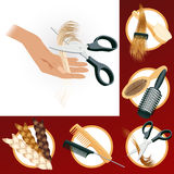 Hairdressing elements Royalty Free Stock Photo