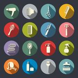 Hairdressing equipment flat icon set Stock Photography