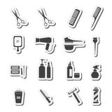 Hairdressing equipment icons Stock Photos