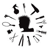 Hairdressing equipment icons. Royalty Free Stock Photos