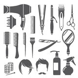 Hairdressing equipment symbols Stock Images