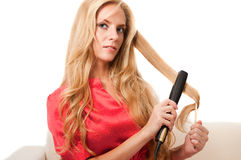 Hairdressing girl Stock Images