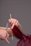 Hairdressing hands Stock Images