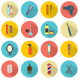 Hairdressing Icons. Flat Design Hairdressing Icons Set 16 vector illustration