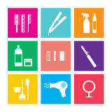 Hairdressing Icons. Flat Design Hairdressing Icons Set 9 Illustration vector illustration