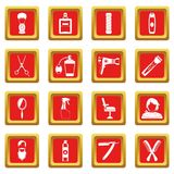 Hairdressing icons set red Royalty Free Stock Images