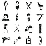 Hairdressing icons set, simple style Royalty Free Stock Photo