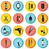 Hairdressing Icons Set Stock Photos