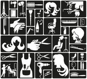 Hairdressing icons Stock Image