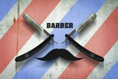 Hairdressing razor on a multi-colored concrete background. Inscription Barber. Professions. The concept of Barber Shop. stock photos