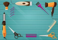 Hairdressing salon Barbershop Tools flat background. Vector illustration of flat background with Tools for Hairdressing salon or Barbershop such as comb Royalty Free Stock Photography