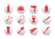 Hairdressing salon buttons Stock Photography