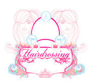 Hairdressing salon card Stock Photos