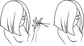 Hairdressing salon. Drawing of the beautiful young girl who holds scissors. The concept is beauty shop or a hairdressing salon vector illustration
