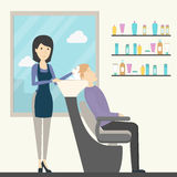 Hairdressing in salon. Female hairdresser washes hair to a man in chair. Fashion and spa. Salon interior royalty free illustration