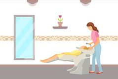 Hairdressing Salon, Hair Wash Done by Hairdresser. Hairdressing salon, hair wash of client done by hairdresser. People in spa, woman having her head washed vector illustration