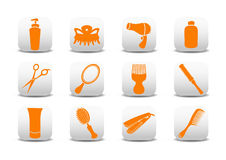 Hairdressing salon icons Stock Photography