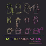 Hairdressing salon. line art icons Stock Image