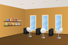 Hairdressing salon orange interior room illustration. Vector vector illustration