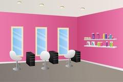 Hairdressing salon pink interior room illustration Stock Photo