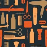 Hairdressing Salon Vintage Seamless Pattern. With scissors hair dryer comb clipper blade on black background vector illustration stock illustration
