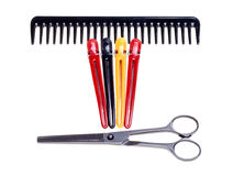 Hairdressing Scissors, Comb And Clips Royalty Free Stock Image