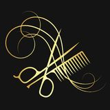 Hairdressing scissors and comb gold color. Hairdressing scissors and comb hair curl gold color vector illustration