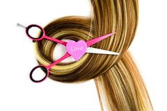 Hairdressing scissors love for the profession hairdresser. Hairdressing scissors profession hair hairdresser stylist coiffeur white barber beauty hairstyle care royalty free stock image