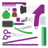 Hairdressing symbol. set of accessories for hair. Royalty Free Stock Images