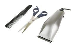 Hairdressing tool on white stock photos