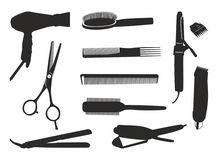 Hairdressing tools. Black hair vector outlines tools Royalty Free Stock Photo