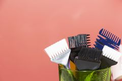 Hairdressing tools with copy space, combs and bleach brushes.  royalty free stock image