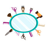 Hairdressing Tools flat mirror background Stock Photos
