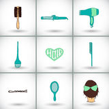Hairdressing tools icon set. Hand-drawn cartoon collection of hair styling stuff -  comb, hairbrush, hairpin, mirror Royalty Free Stock Photo