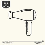 Hairdressing tools. Icons series. Hair dryer. Royalty Free Stock Photo