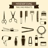 Hairdressing tools and products. Set of hairdressing symbols tools and products vector illustration