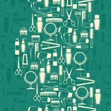 Hairdressing tools seamless pattern in retro style Stock Photos