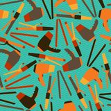 Hairdressing tools seamless pattern in retro style Royalty Free Stock Photography