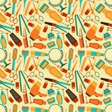 Hairdressing tools seamless pattern in retro style Royalty Free Stock Photos